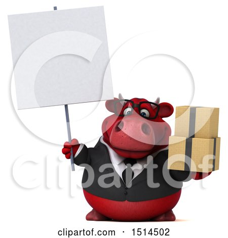 Clipart of a 3d Red Business Bull Holding Boxes, on a White Background - Royalty Free Illustration by Julos