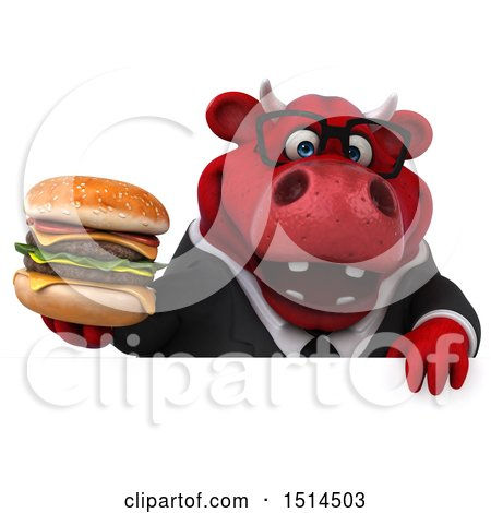 Clipart of a 3d Red Business Bull Holding a Burger, on a White Background - Royalty Free Illustration by Julos