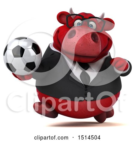 Clipart of a 3d Red Business Bull Holding a Soccer Ball, on a White Background - Royalty Free Illustration by Julos