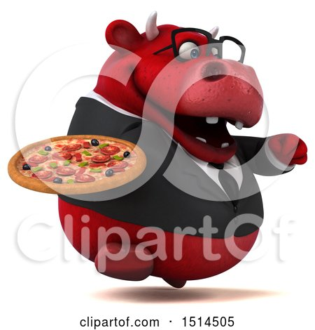 Clipart of a 3d Red Business Bull Holding a Pizza, on a White Background - Royalty Free Illustration by Julos