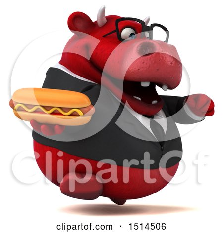 Clipart of a 3d Red Business Bull Holding a Hot Dog, on a White Background - Royalty Free Illustration by Julos