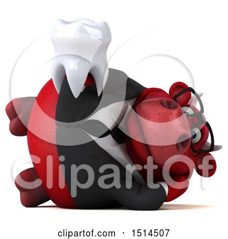 Clipart of a 3d Red Business Bull Holding a Tooth, on a White Background - Royalty Free Illustration by Julos