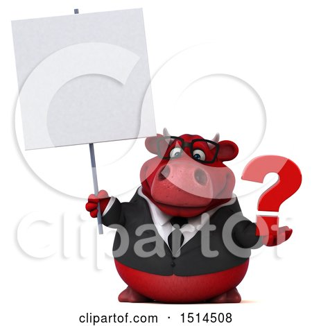 Clipart of a 3d Red Business Bull Holding a Question Mark, on a White Background - Royalty Free Illustration by Julos