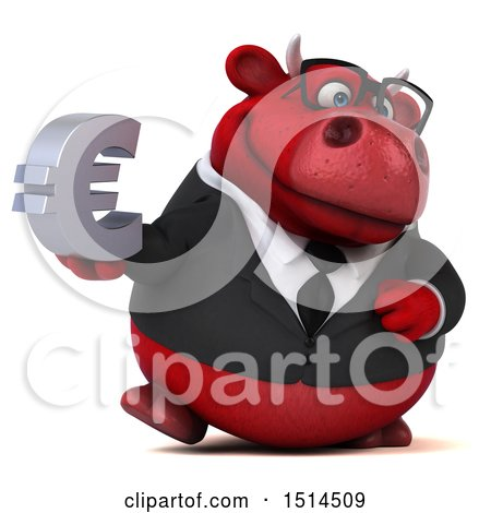 Clipart of a 3d Red Business Bull Holding a Euro, on a White Background - Royalty Free Illustration by Julos