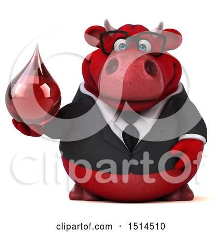 Clipart of a 3d Red Business Bull Holding a Blood Drop, on a White Background - Royalty Free Illustration by Julos