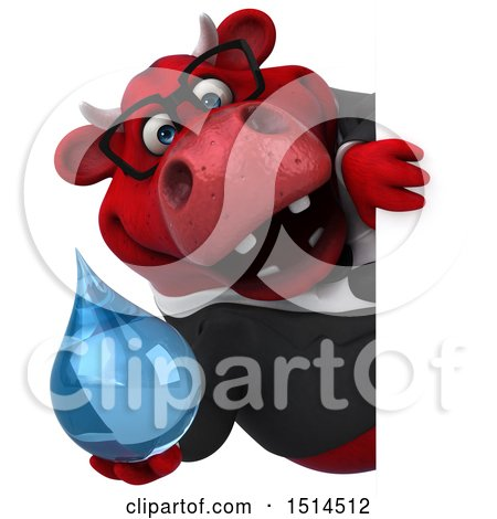 Clipart of a 3d Red Business Bull Holding a Water Drop, on a White Background - Royalty Free Illustration by Julos