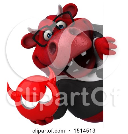 Clipart of a 3d Red Business Bull Holding a Devil, on a White Background - Royalty Free Illustration by Julos