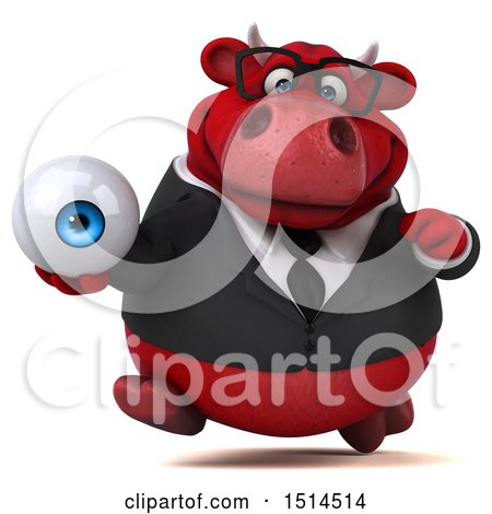 Clipart of a 3d Red Business Bull Holding an Eye, on a White Background - Royalty Free Illustration by Julos
