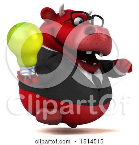 Clipart of a 3d Red Business Bull Holding a Light Bulb, on a White Background - Royalty Free Illustration by Julos