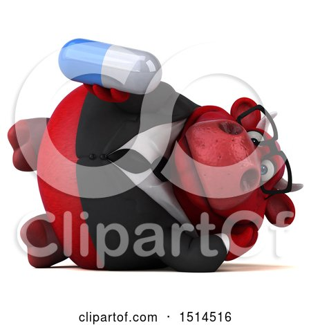 Clipart of a 3d Red Business Bull Holding a Pill, on a White Background - Royalty Free Illustration by Julos