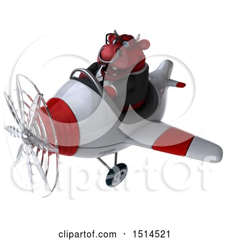 Clipart of a 3d Red Business Bull Flying a Plane, on a White Background - Royalty Free Illustration by Julos