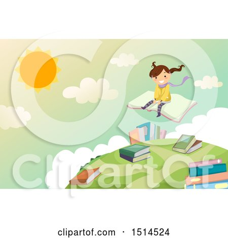 Clipart of a Girl Sitting on a Book and Flying over a Globe - Royalty Free Vector Illustration by BNP Design Studio