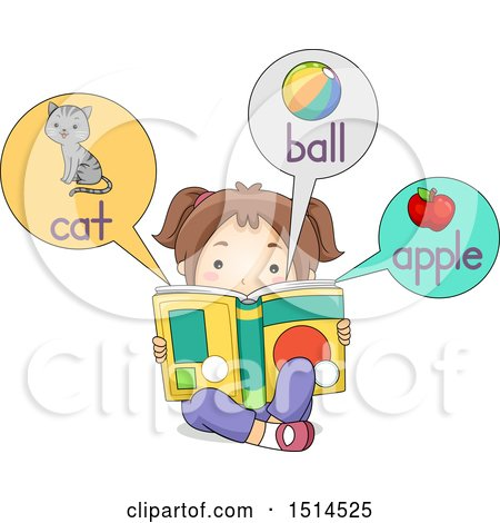 Clipart of a Girl Reading a Picture Dictionary Book with a Cat, Ball and Apple - Royalty Free Vector Illustration by BNP Design Studio