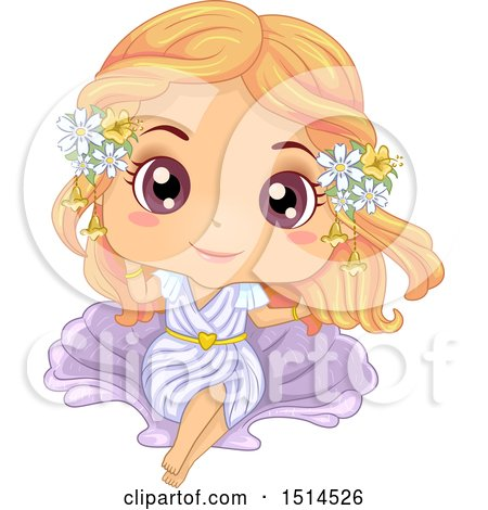 Clipart of a Girl in an Aphrodite Costume - Royalty Free Vector Illustration by BNP Design Studio