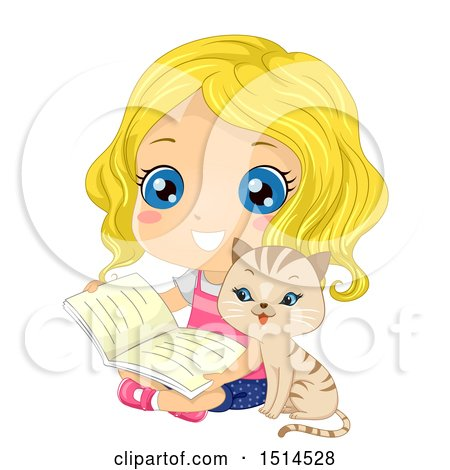 Clipart of a Cat Sitting with a Girl Reading a Book - Royalty Free Vector Illustration by BNP Design Studio