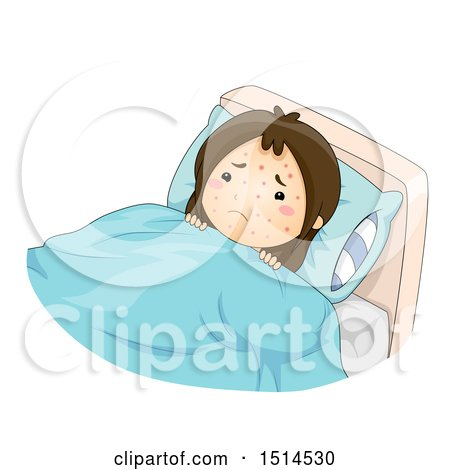 Clipart of a Girl Sick with Chicken Pox - Royalty Free Vector Illustration by BNP Design Studio