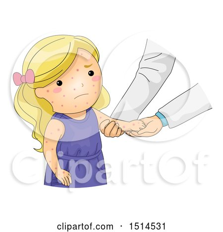 Clipart of a Girl Sick with Chicken Pox Getting a Check up - Royalty Free Vector Illustration by BNP Design Studio
