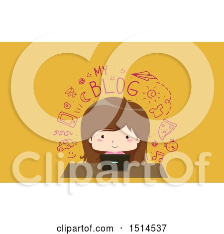 Clipart of a Girl Writing a Blog on Her Laptop - Royalty Free Vector Illustration by BNP Design Studio