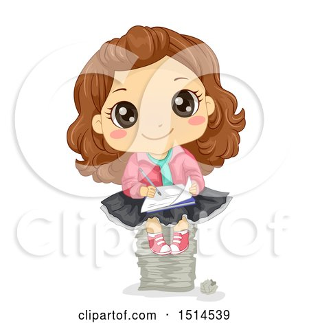 Clipart of a Brunette Girl Writing and Sitting on a Stack of Papers - Royalty Free Vector Illustration by BNP Design Studio