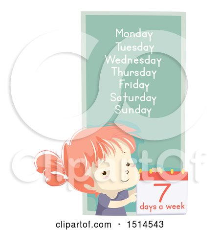 Clipart of a School Girl with the Seven Days of the Week - Royalty Free Vector Illustration by BNP Design Studio