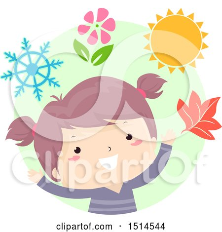 Clipart of a Girl with Objects of Each Season - Royalty Free Vector Illustration by BNP Design Studio
