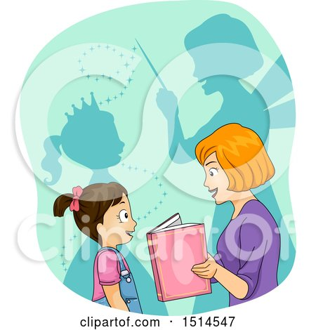 Clipart of a Mother Reading a Story, with Shadows of a Princess and Fairy Godmother - Royalty Free Vector Illustration by BNP Design Studio