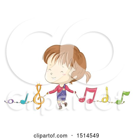 Clipart of a Sketched Girl Holding Hands with Music Notes - Royalty Free Vector Illustration by BNP Design Studio