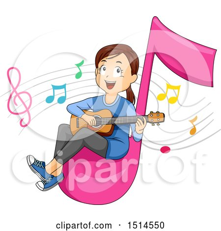Clipart of a Girl Playing a Guitar on a Giant Music Note - Royalty Free Vector Illustration by BNP Design Studio