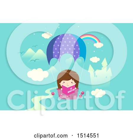 Clipart of a Girl Reading a Book in a Hot Air Balloon, with a Rainbow and Castle - Royalty Free Vector Illustration by BNP Design Studio