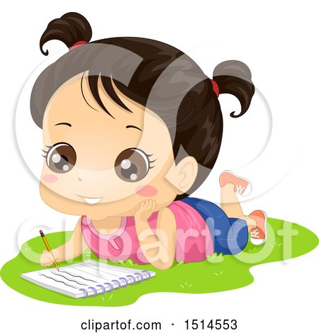 Clipart of a Brunette Girl Laying on Grass and Writing in a Notebook - Royalty Free Vector Illustration by BNP Design Studio