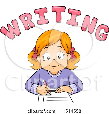 Clipart of a Red Haired Girl Writing Under Text - Royalty Free Vector Illustration by BNP Design Studio