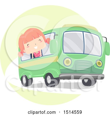 Clipart of a Girl Sticking Her Head out of the Window of a Bus - Royalty Free Vector Illustration by BNP Design Studio