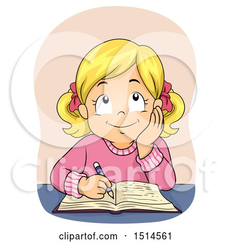 Clipart of a Blond Girl Writing in a Book - Royalty Free Vector Illustration by BNP Design Studio