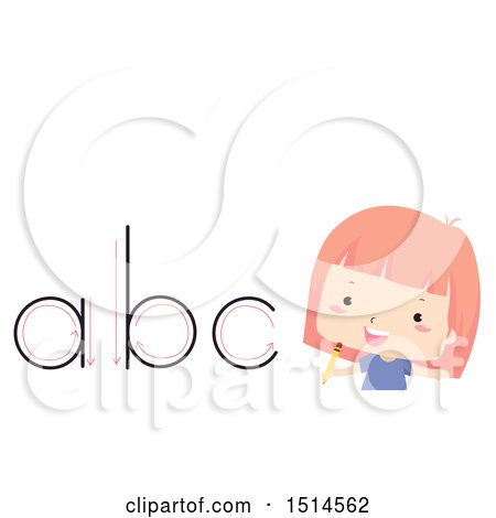 Clipart of a Girl by Alphabet Letters, Traced with a Pencil - Royalty Free Vector Illustration by BNP Design Studio