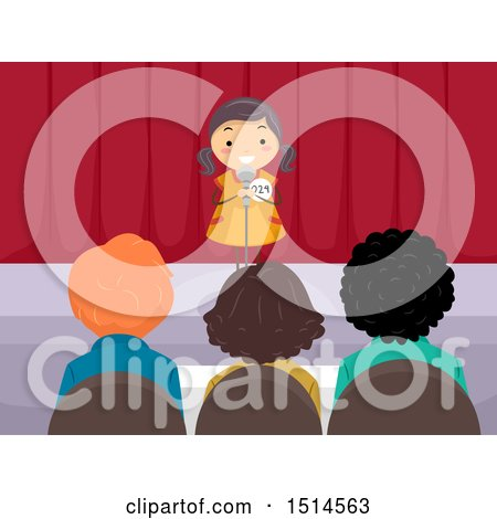 Clipart of a Girl Auditioning on Stage in Front of Judges - Royalty Free Vector Illustration by BNP Design Studio