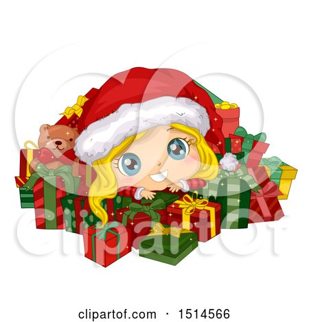 Clipart of a Blond Christmas Girl in a Santa Suit, Surrounded by Presents - Royalty Free Vector Illustration by BNP Design Studio