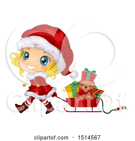 Clipart of a Blond Christmas Girl in a Santa Suit, Pulling a Sleigh of Presents - Royalty Free Vector Illustration by BNP Design Studio