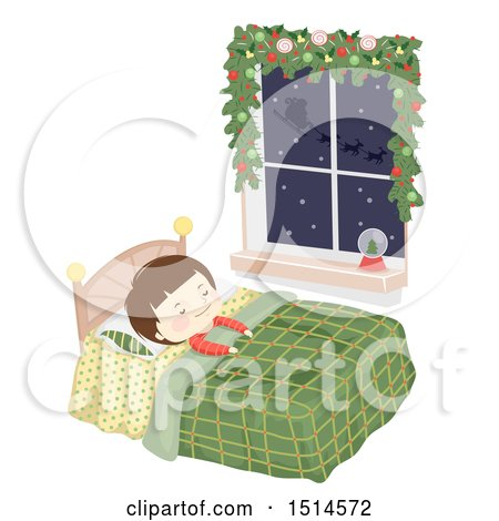 Clipart of a Boy Sleeping in Bed, with Santas Sleigh Flying Outside His Window - Royalty Free Vector Illustration by BNP Design Studio