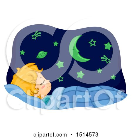 Clipart of a Boy Sleeping with Glow in the Dark Astronomy Wall Decorations - Royalty Free Vector Illustration by BNP Design Studio
