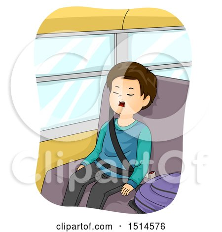 Clipart of a Boy Sleeping with His Mouth Open on a School Bus - Royalty Free Vector Illustration by BNP Design Studio