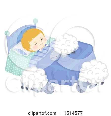 Clipart of a Boy Sleeping with Sheep on and Around His Bed - Royalty Free Vector Illustration by BNP Design Studio