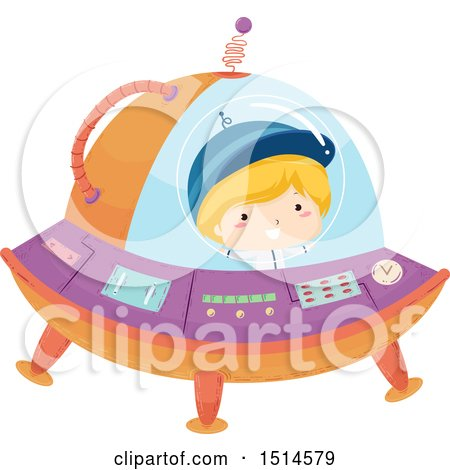 Clipart of a Boy Flying a Ufo - Royalty Free Vector Illustration by BNP Design Studio