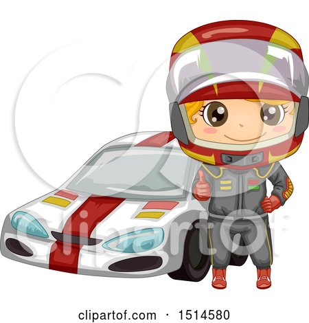 Clipart of a Boy Racer Giving a Thumb up by a Car - Royalty Free Vector Illustration by BNP Design Studio