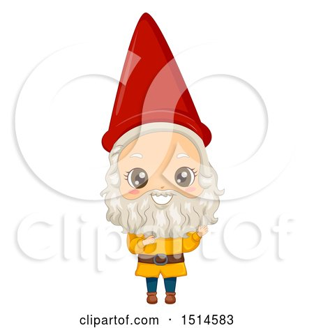 Clipart of a Boy in a Garden Gnome Costume - Royalty Free Vector Illustration by BNP Design Studio
