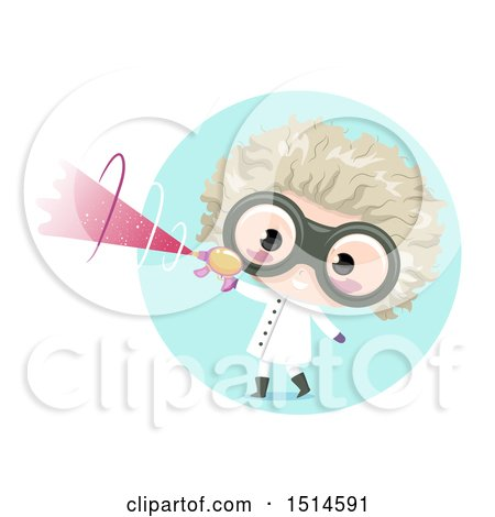 Clipart of a Mad Scientist Boy Holding a Ray Gun - Royalty Free Vector Illustration by BNP Design Studio