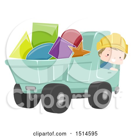 Clipart of a Construction Worker Boy in a Dump Truck Full of Shapes - Royalty Free Vector Illustration by BNP Design Studio