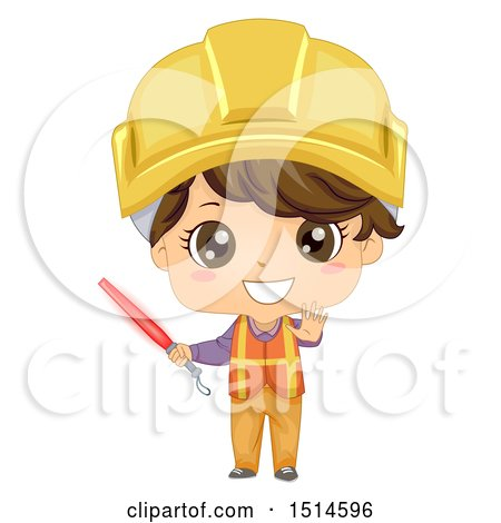 Clipart of a Construction Worker Boy Holding a Red Baton - Royalty Free Vector Illustration by BNP Design Studio