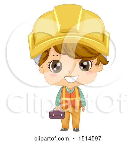 Clipart of a Construction Worker Boy Holding a Tool Box - Royalty Free Vector Illustration by BNP Design Studio