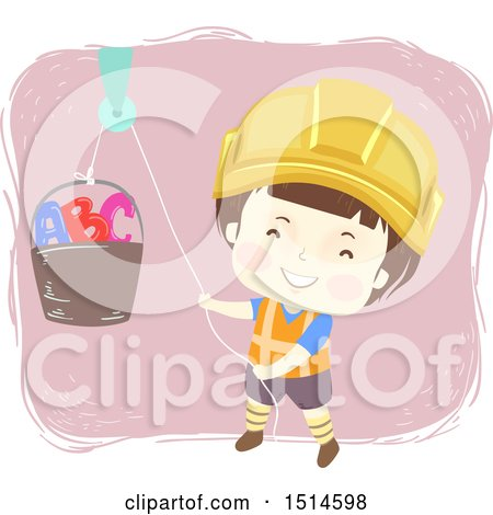 Clipart of a Construction Worker Boy Using a Pully on a Bucket with Abc Letters - Royalty Free Vector Illustration by BNP Design Studio