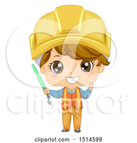 Clipart of a Construction Worker Boy Holding a Baton - Royalty Free Vector Illustration by BNP Design Studio